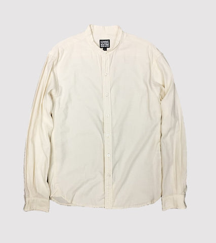 ARCHITECT  BAND COLLAR SHIRT<br/> Off White Soft Twill