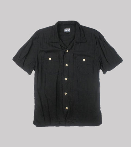 CAMP COLLAR RAYON SHIRT <br/>   Black