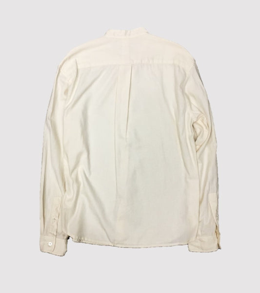 BAND COLLAR SHIRT<br/> Off White Soft Twill