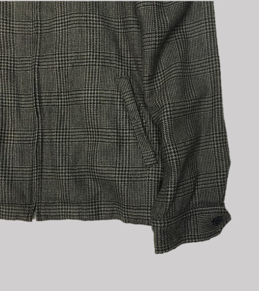 WOOL WINDBREAKER JACKET <br/> Grey Glen Check