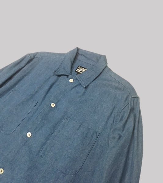 DENIM CAMP COLLAR SHIRT <br/>  Bleached