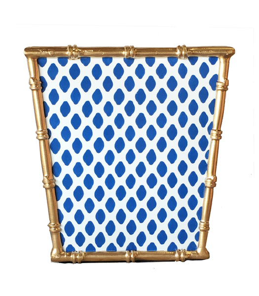 Bamboo Wastebasket in Navy Parsi