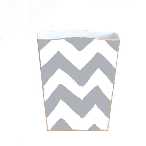 Grey Bargello Wastebasket