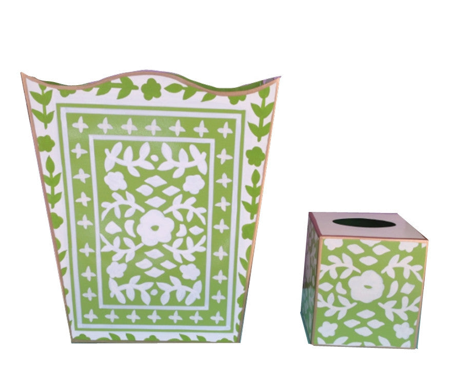 Mosaic in Green  Wastebasket and Tissue Box