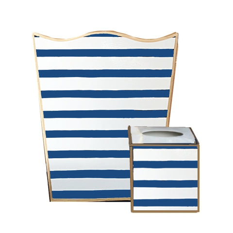 Navy Penstripe Wastebasket , Tissue Box