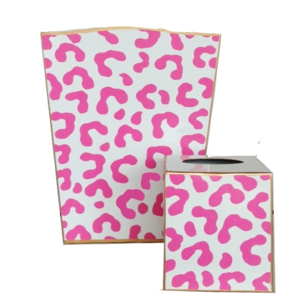 Pink Ocelot Wastebasket and Tissue Box