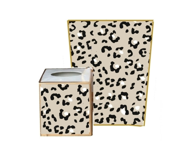 White Leopard Wastebasket, Tissue Box sold separately.