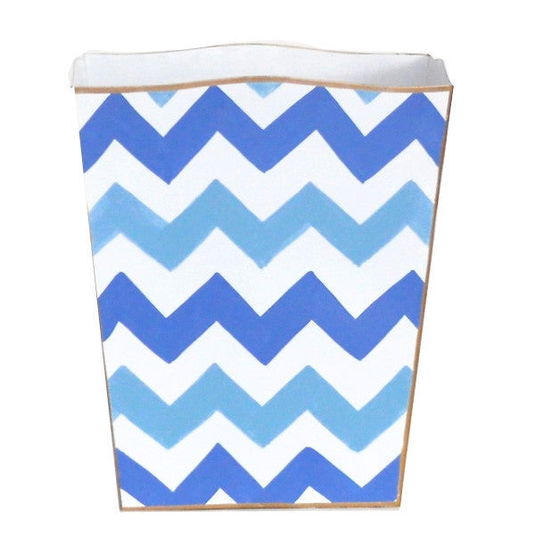 Blue Bargello Wastebasket