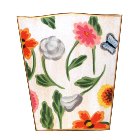 White Flower Wastebasket