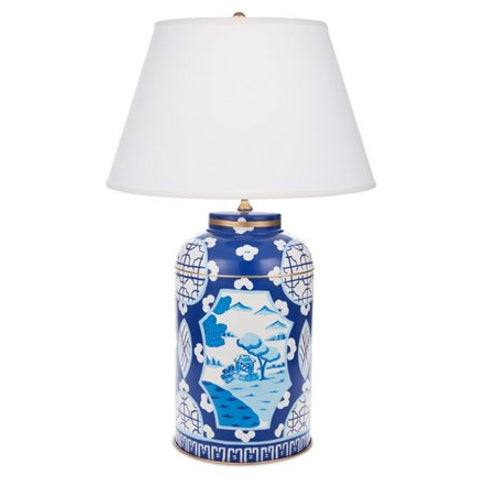 Dana Gibson Blue Canton Tea Caddy Lamp in Small