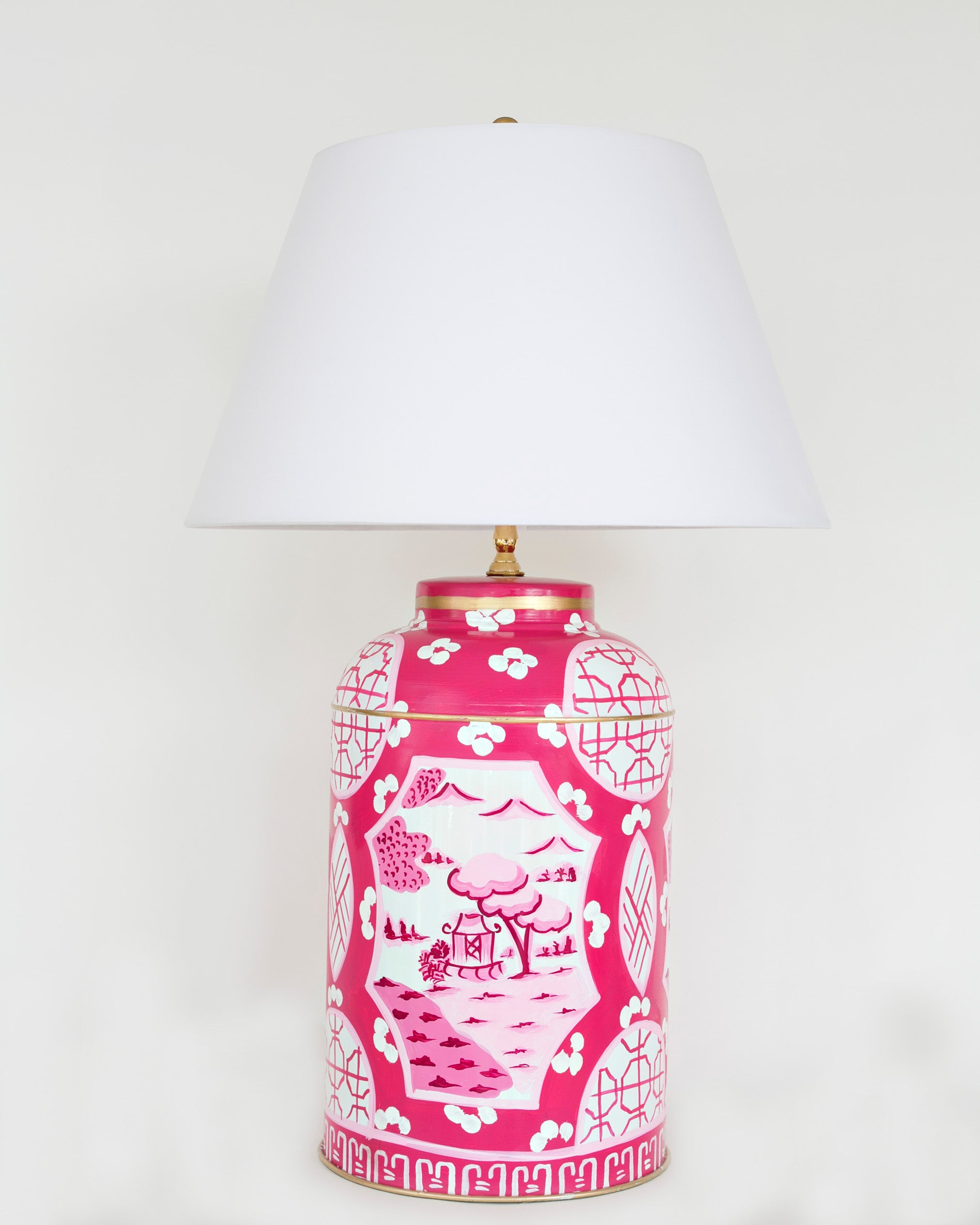 Pink  Canton Tea Caddy Lamp in Small