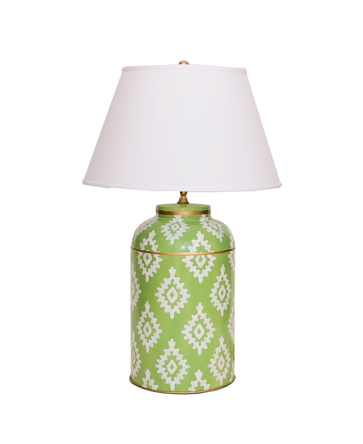 Taupe Block Print Tea caddy Lamp