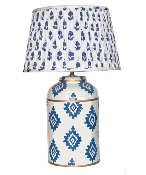 Navy Block Print Tea Caddy Lamp with Pleated Blue Fleur Shade