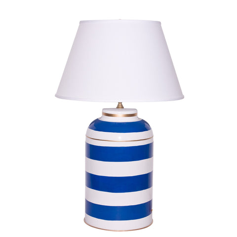 Navy Stripe Tea Caddy Lamp