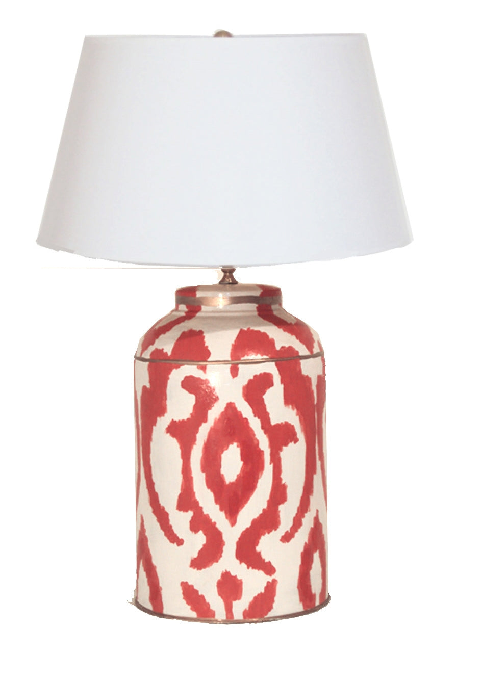 Persimmon Ikat  Tea Caddy Lamp with White Shade