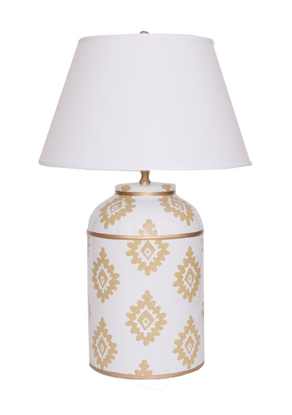 Taupe Block Print Tea Caddy Lamp with White Shade