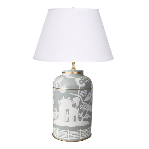 Dana Gibson Xanadu  in Grey Tea Caddy Lamp