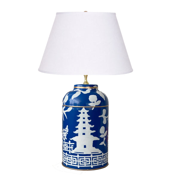 Dana Gibson Xanadu  in Navy Tea Caddy Lamp