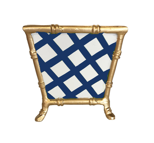 Bamboo in Blue Lattice Cachepot