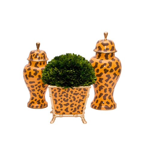 Golden Leopard Cachepot and Jars