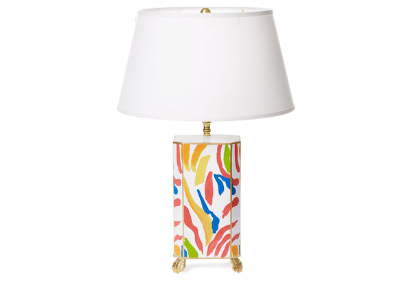 Abstract Lamp with White Shade