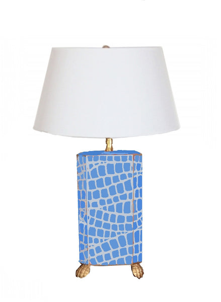 Dana Gibson Blue   Croc Lamp with White or Black Shade