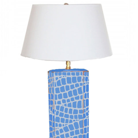 Blue  Croc Lamp with White or Black Shade