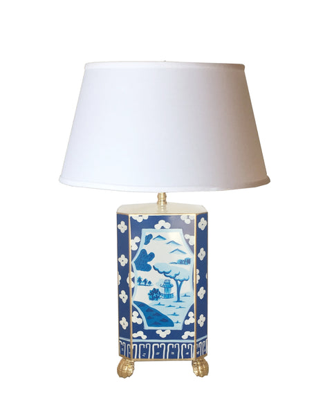 Canton in Blue Lamp with White Shade, Small