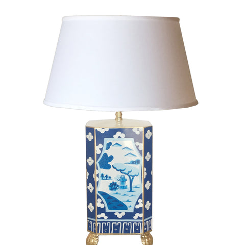 Dana Gibson Canton in Blue Lamp with White Shade, Small