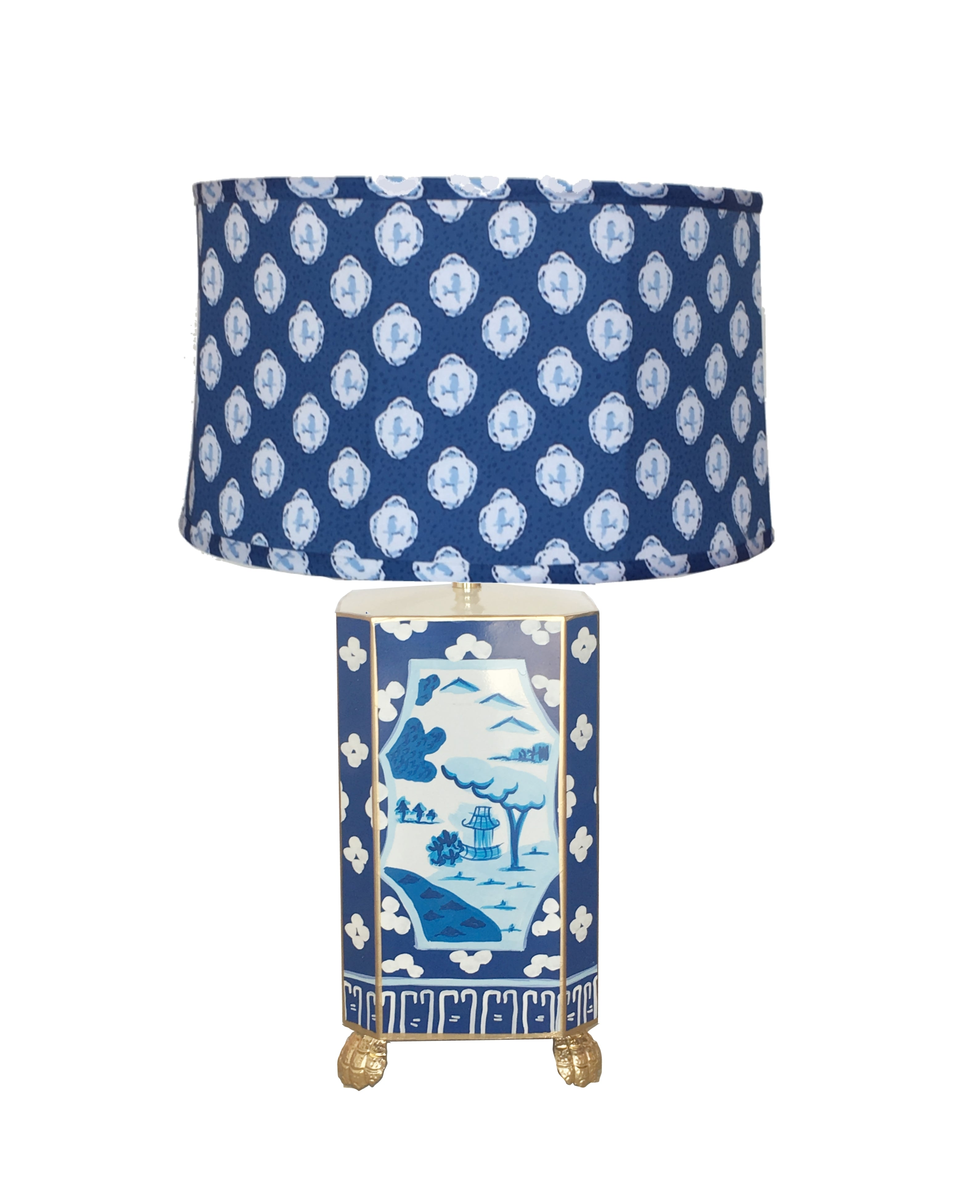 Canton in Blue Lamp with Blue Bellamy Shade, Small