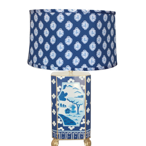 Dana Gibson Canton in Blue Lamp with Blue Bellamy Shade, Small