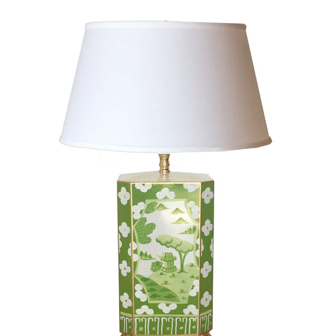 Dana Gibson Canton in Green Lamp with White Shade, Small