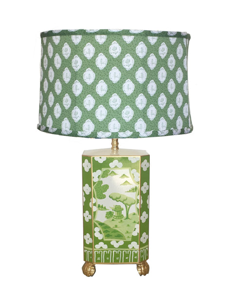 Canton in Green Lamp with Green Bellamy Shade by Dana Gibson, Small