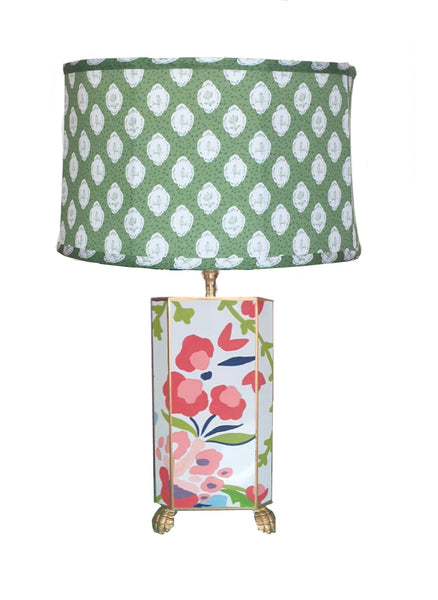 Dana Gibson Chintz  Lamp with Green Bellamy Shade, Small