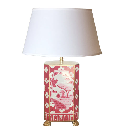 Dana Gibson Canton in Pink Lamp with White Shade, Small