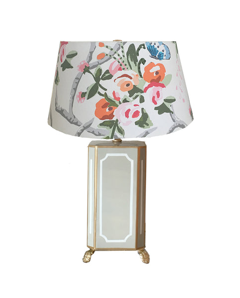 Devon Lamp in Grey with Chintz Shade