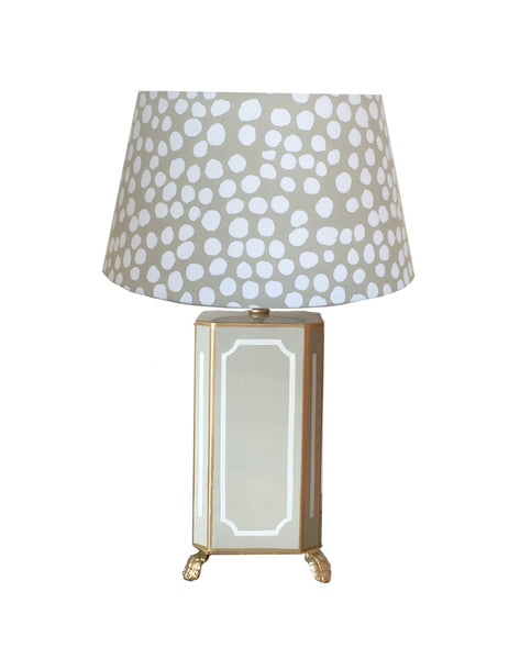 Devon Lamp in Grey with Grey Thumb Print Shade