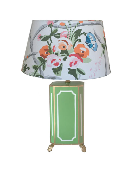 Devon Lamp in Green with Chintz Shade