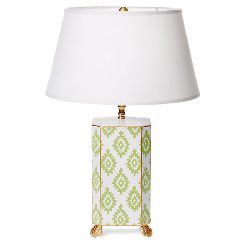 Green Block Print  Lamp in Small