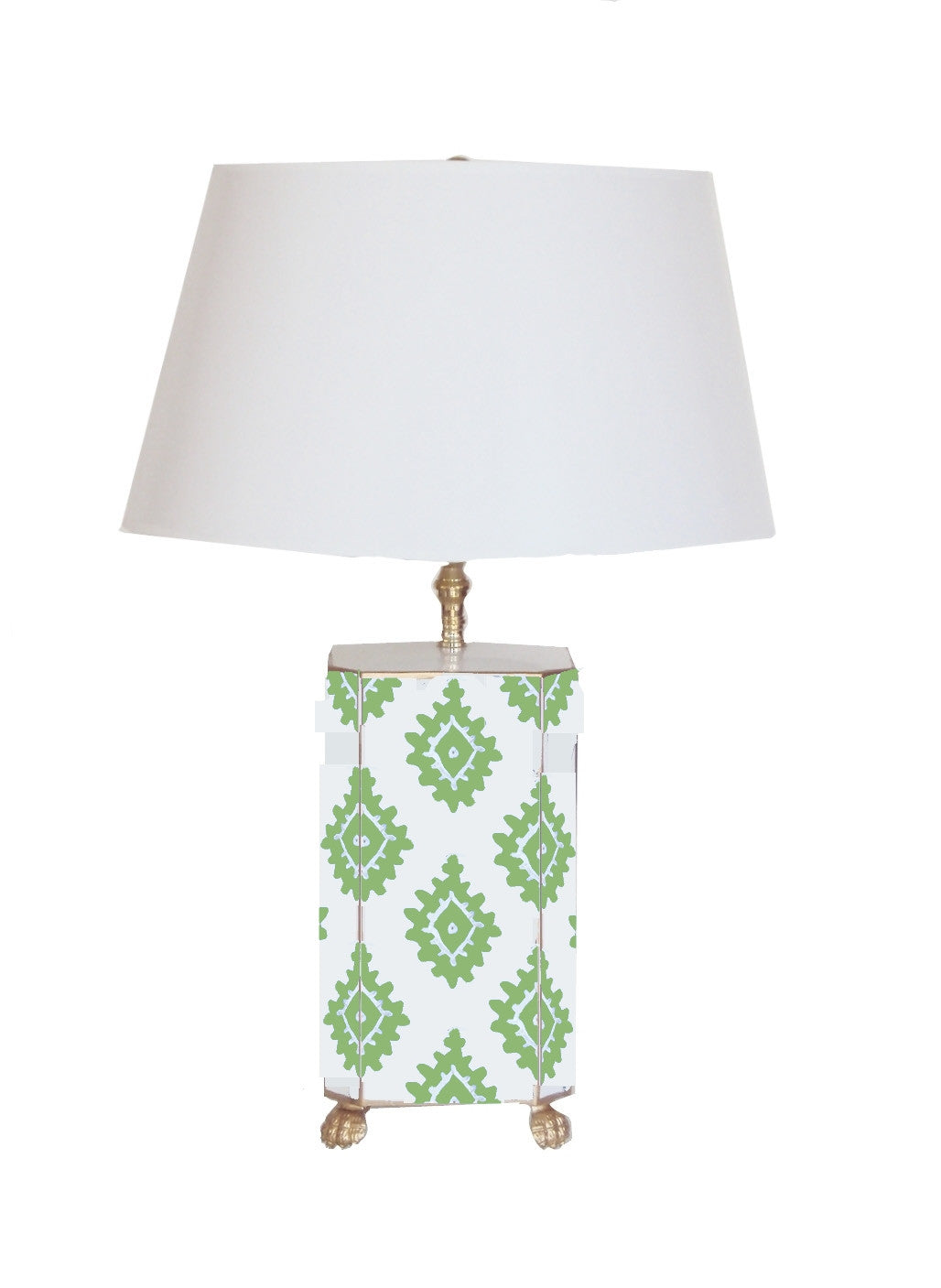 Taupe Block Print  Lamp in Small