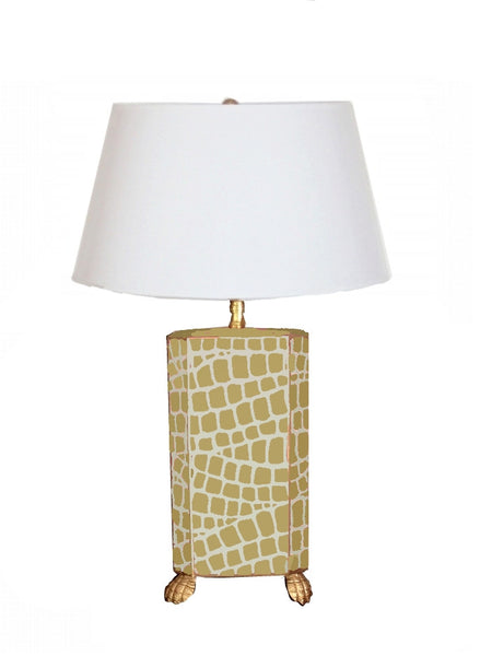 Taupe Croc Lamp with White Shade