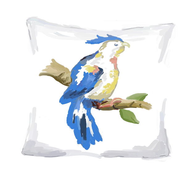 Blue Parrot Pillow, 18""