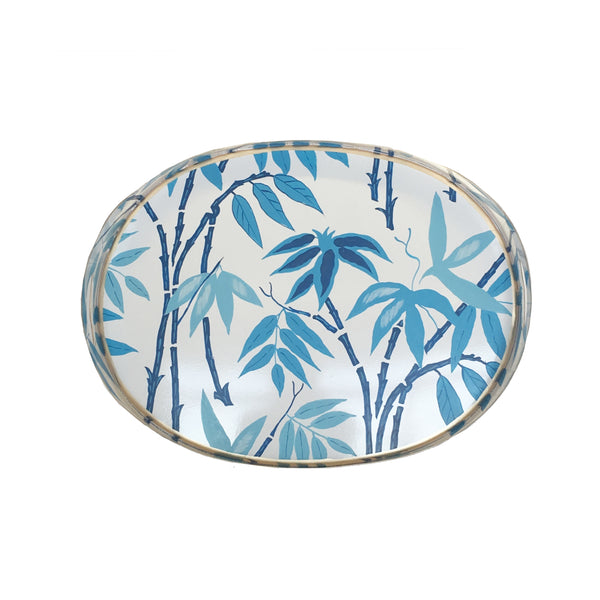 Dana Gibson Fontaine in Blue  Oval Tray