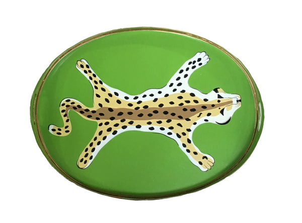 Oval Tray in Green Leopard