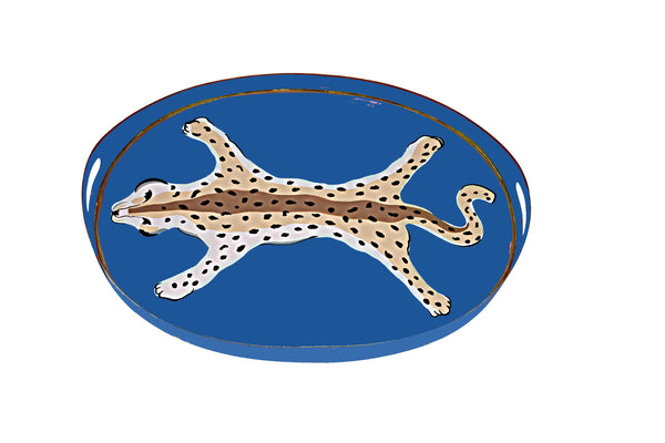 Oval Tray in Navy Leopard