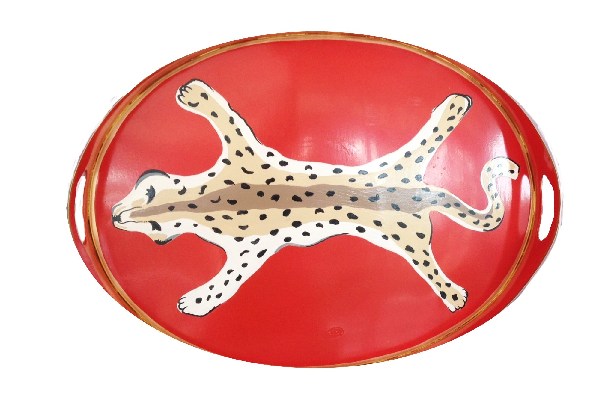 Dana Gibson Oval Tray in Orange Leopard