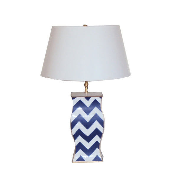 Navy Bargello Lamp