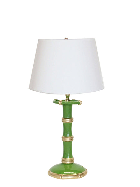 Dana Gibson Bamboo Candle Stick  Lamp in Green