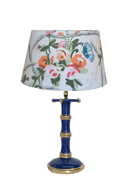 Bamboo Candle Stick  Lamp in Navy