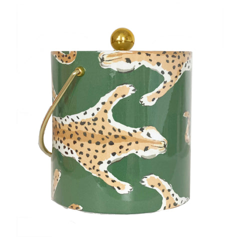 Dana Gibson Green Leopard Ice Bucket